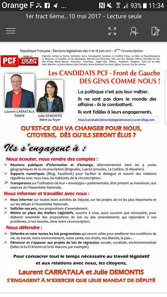 PCF - Front de Gauche - Législatives 2017 - 6ème circonscription du Var  : distribution marché de Brignoles