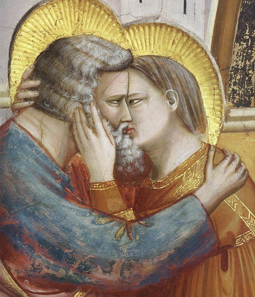 Giotto Rencontre d'Anne et de Joachim, les parents de Marie, à la porte Dorée, Jérusalem