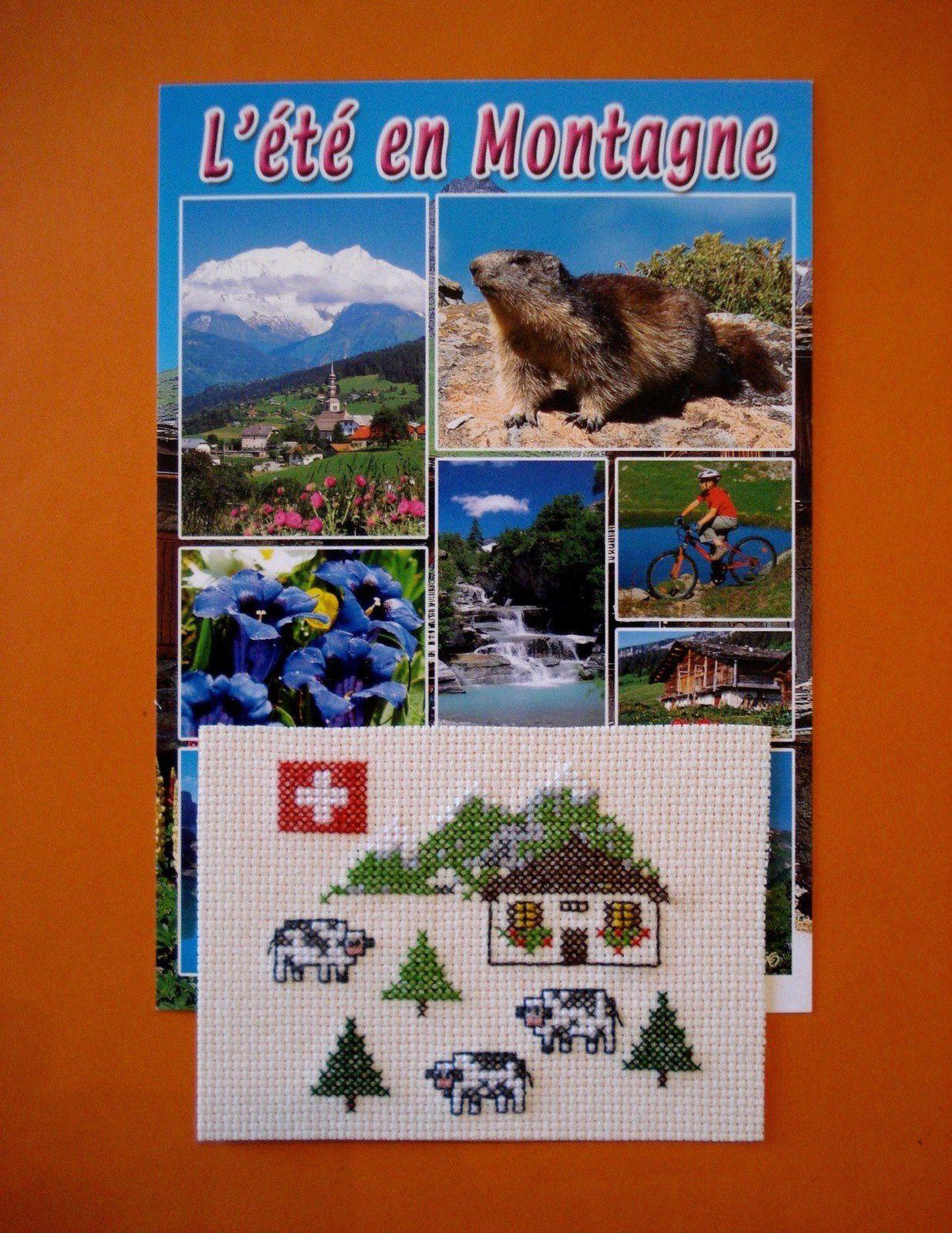 """ATC """"La Suisse"""" pour ChristL et une petite carte de ma région."""