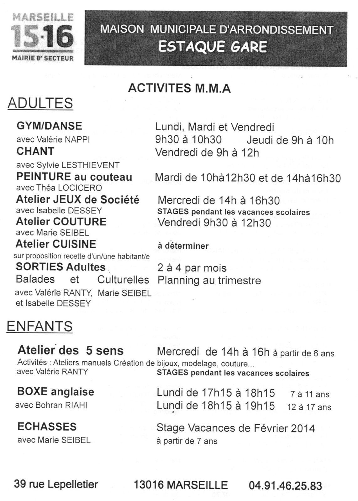 MMA Estaque Gare - Activités 2013