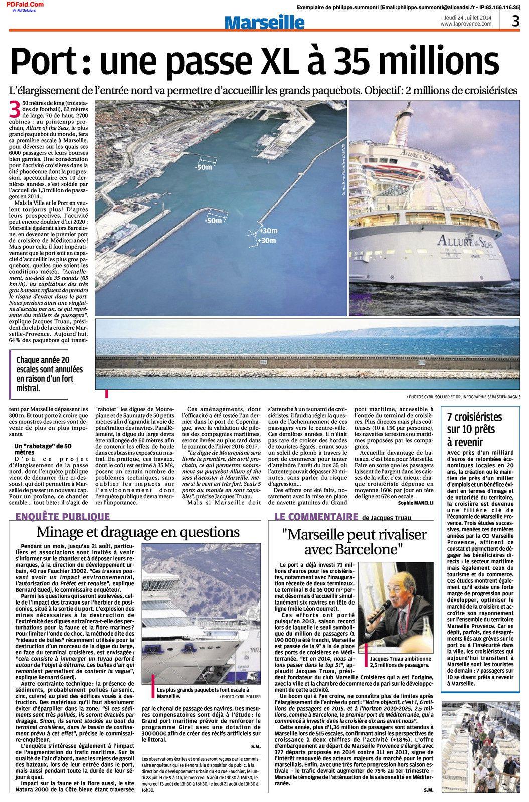 Grand Port Maritime - Enquête publique élargissement de l'entrée nord