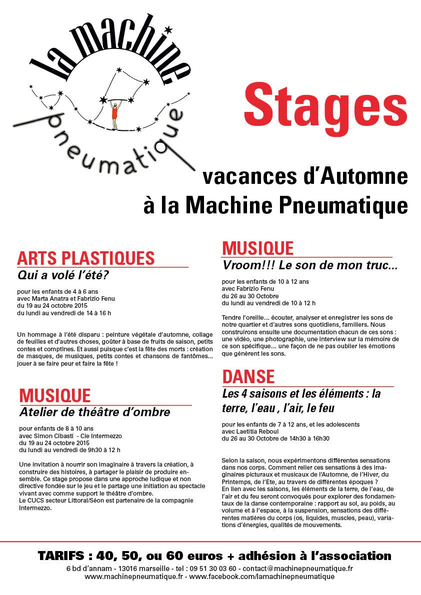 Stages d'Automne à la Machine Pneumatique