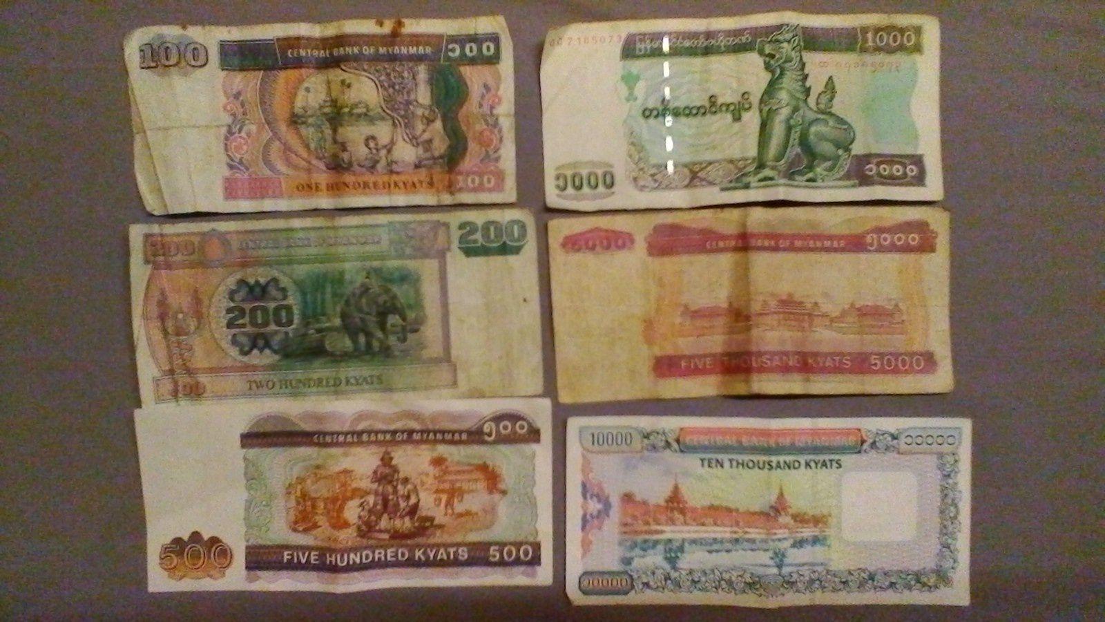 la devise du myanmar est le kyat .. 1 euro vaut environ 1300 kyat