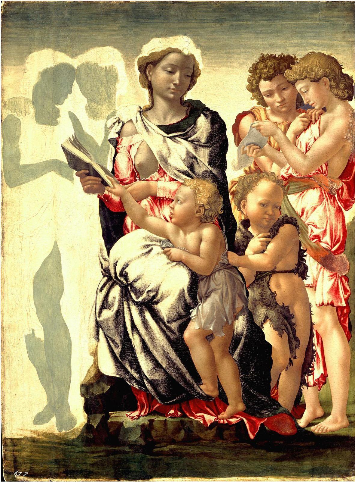 http://photocosmos.centerblog.net/94-michel-ange-1475-1564-la-demesure-dans-art?ii=1 - La madone de Manchester 1497  Tempera sur toile 105 cm × 76 cm National Gallery, Londres