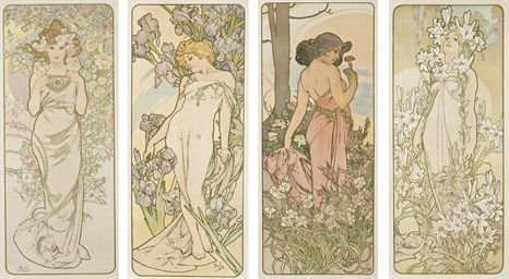 "Quadriptyque floral, ""The Flowers"", Mucha (TCHECOSLOVAQUIE)"