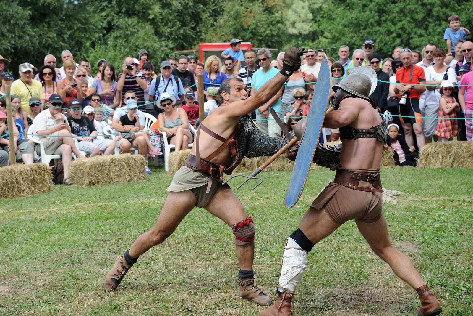 Les gladiateurs d'Acta au Parc archéologique européen de Bliesbruck-Reinheim - Crédits Conseil Général de la Moselle