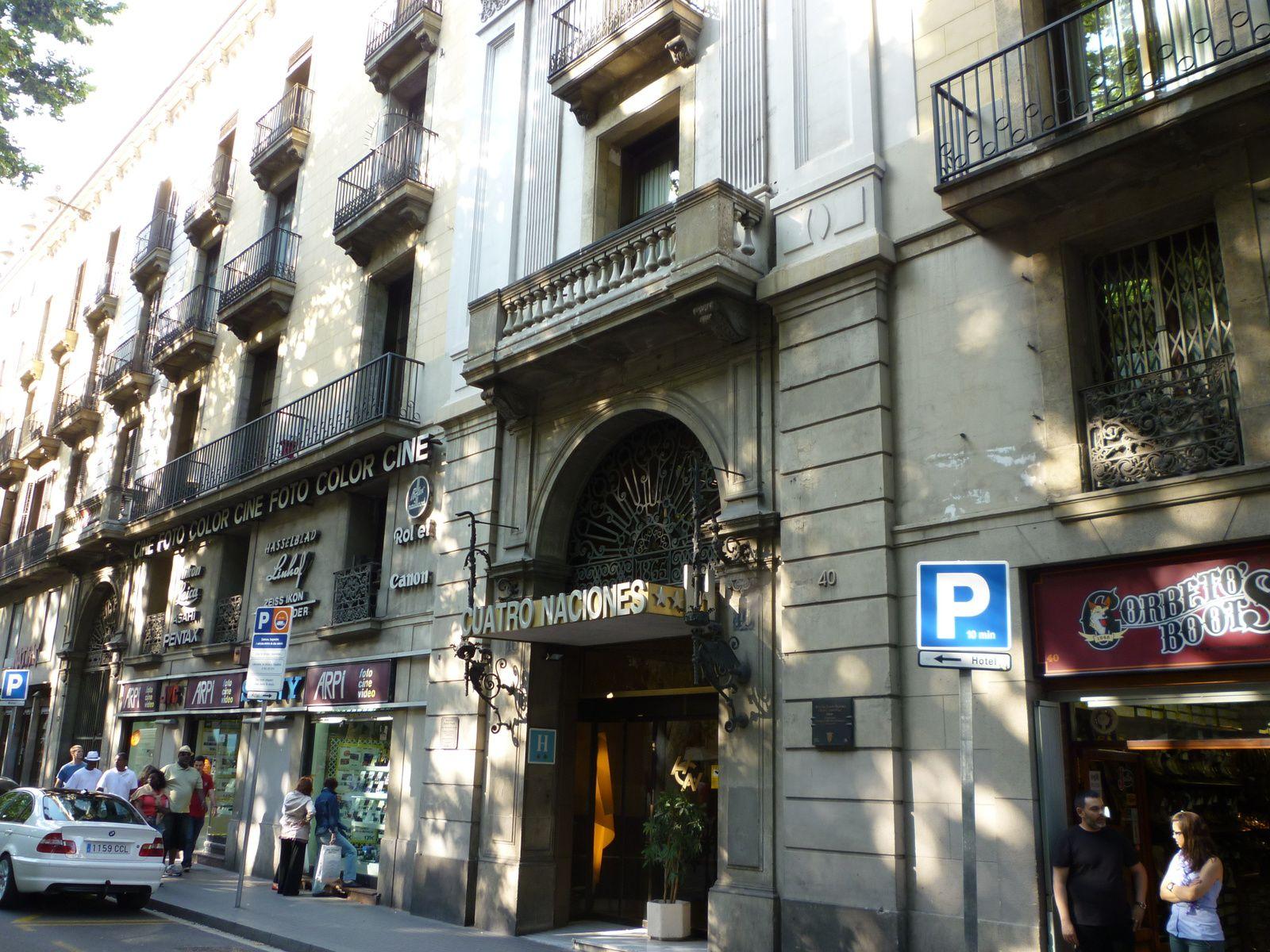 Façade de l'hôtel des Quatre nations (Barcelone) où George Sand et Chopin séjournèrent en novembre 1838.