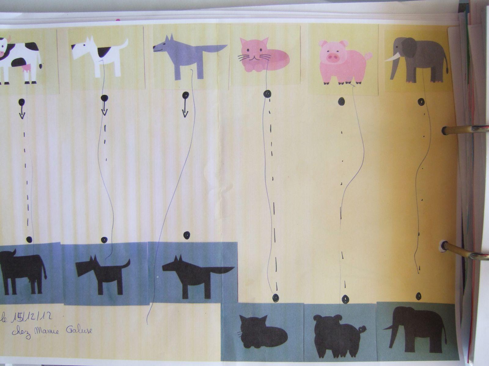 Fiches d'activités,traits horizontaux ou verticaux, relier l'animal à sa maison, relier les ombres.
