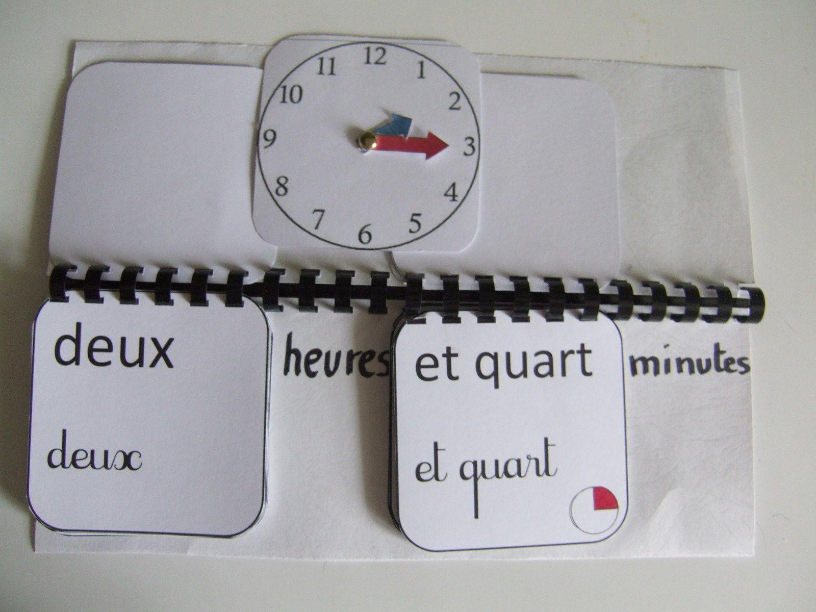 livret mobil pour apprendre à lire l'heure, en toutes lettres