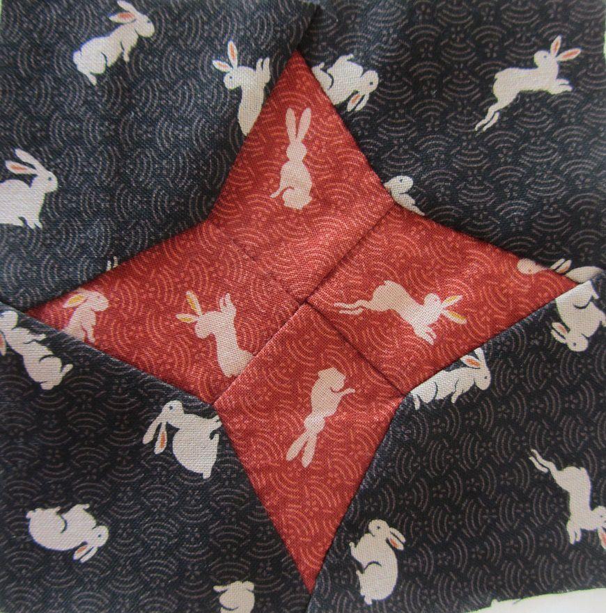 Pour mon bloc 8 il s'agira de lapins, et encore une fois vous comprendrez pourquoi je ne trouvai pas indispensable de rajouter les feuilles en appliqué aux angles du bloc.
