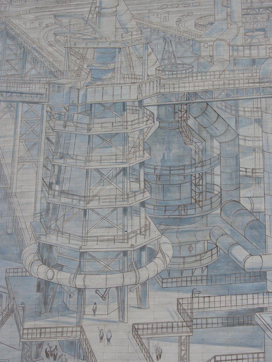 Au centre les hauts fourneaux situés au coeur du complexe.