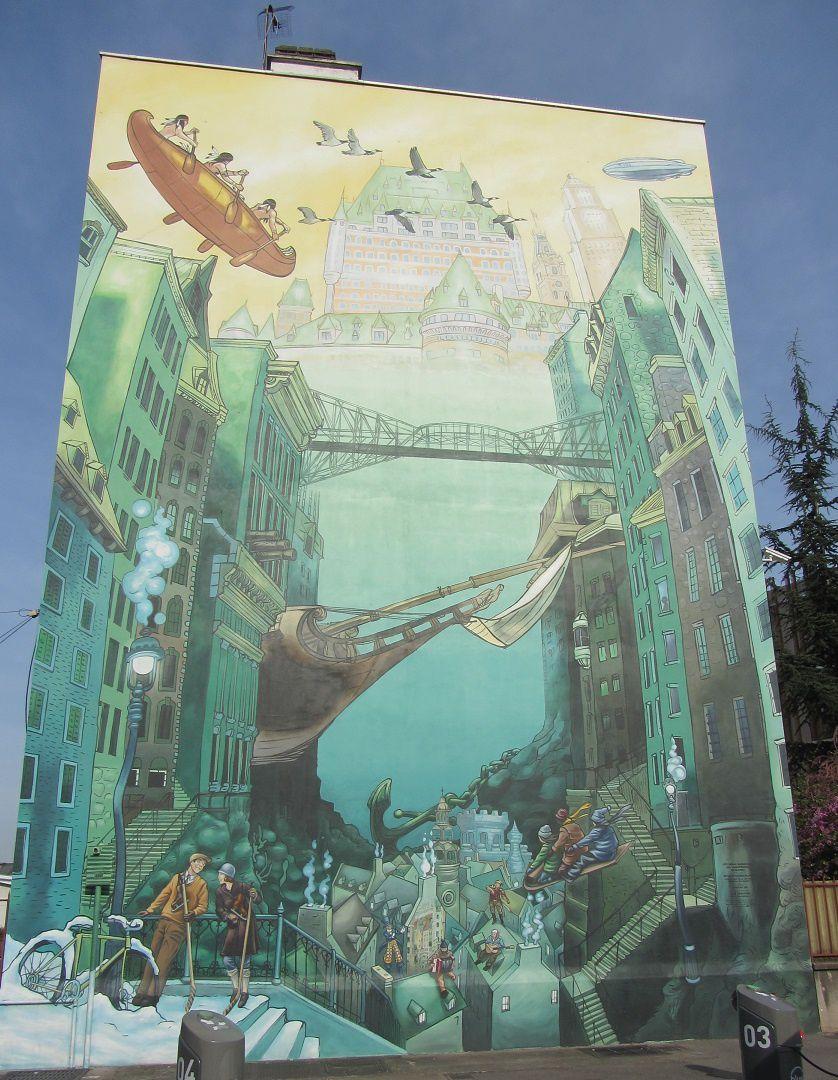 Pour les 400 ans le Québec a eu aussi droit à sa cité idéale dans le quartier des états-unis. En haut de la fresque les mohicans voguent vers la silhouette reconnaissable du château Frontenac.