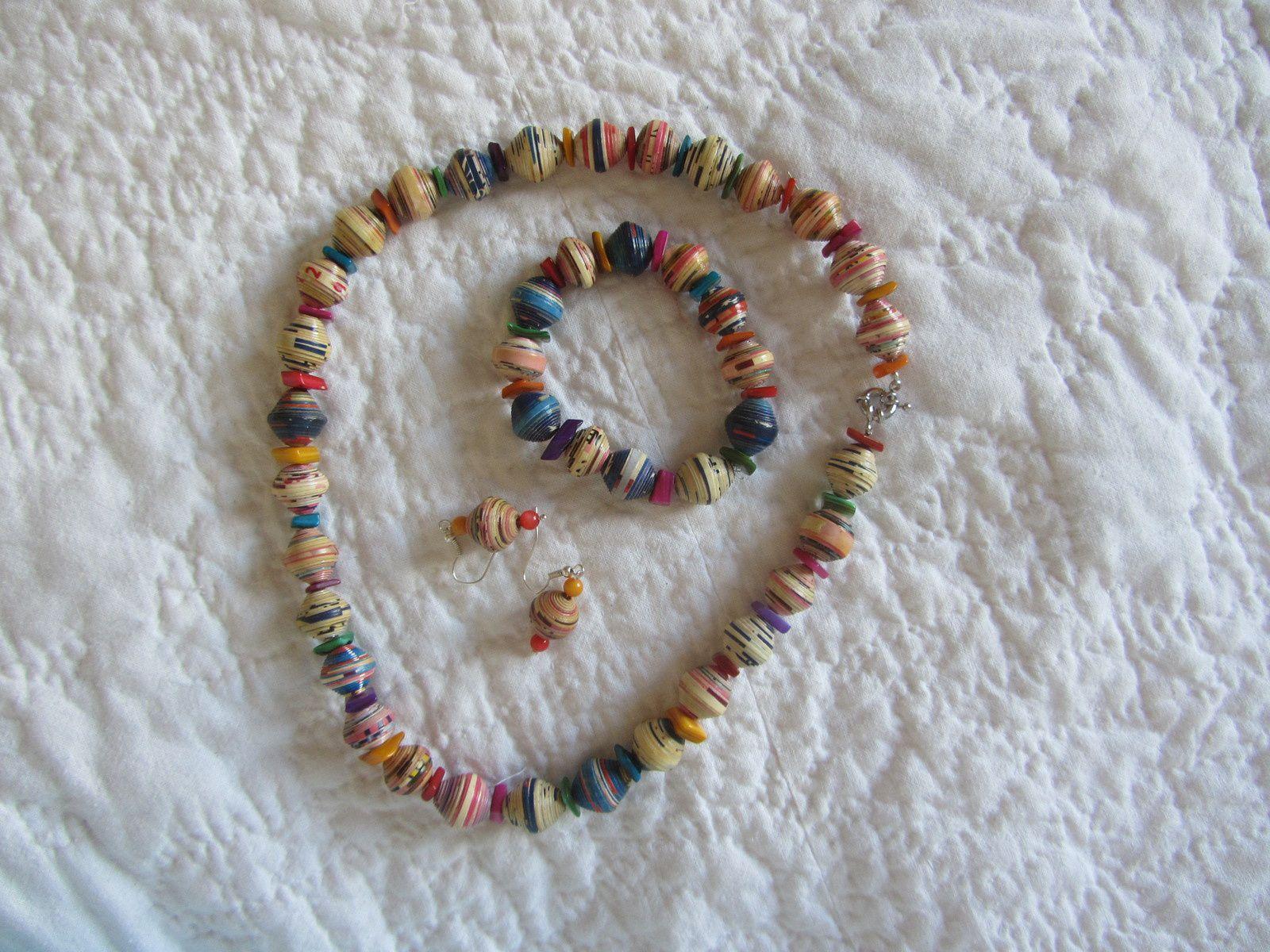 Voic une jolie parure très estivale. je l'ai réalisé avec des perles de papier.i