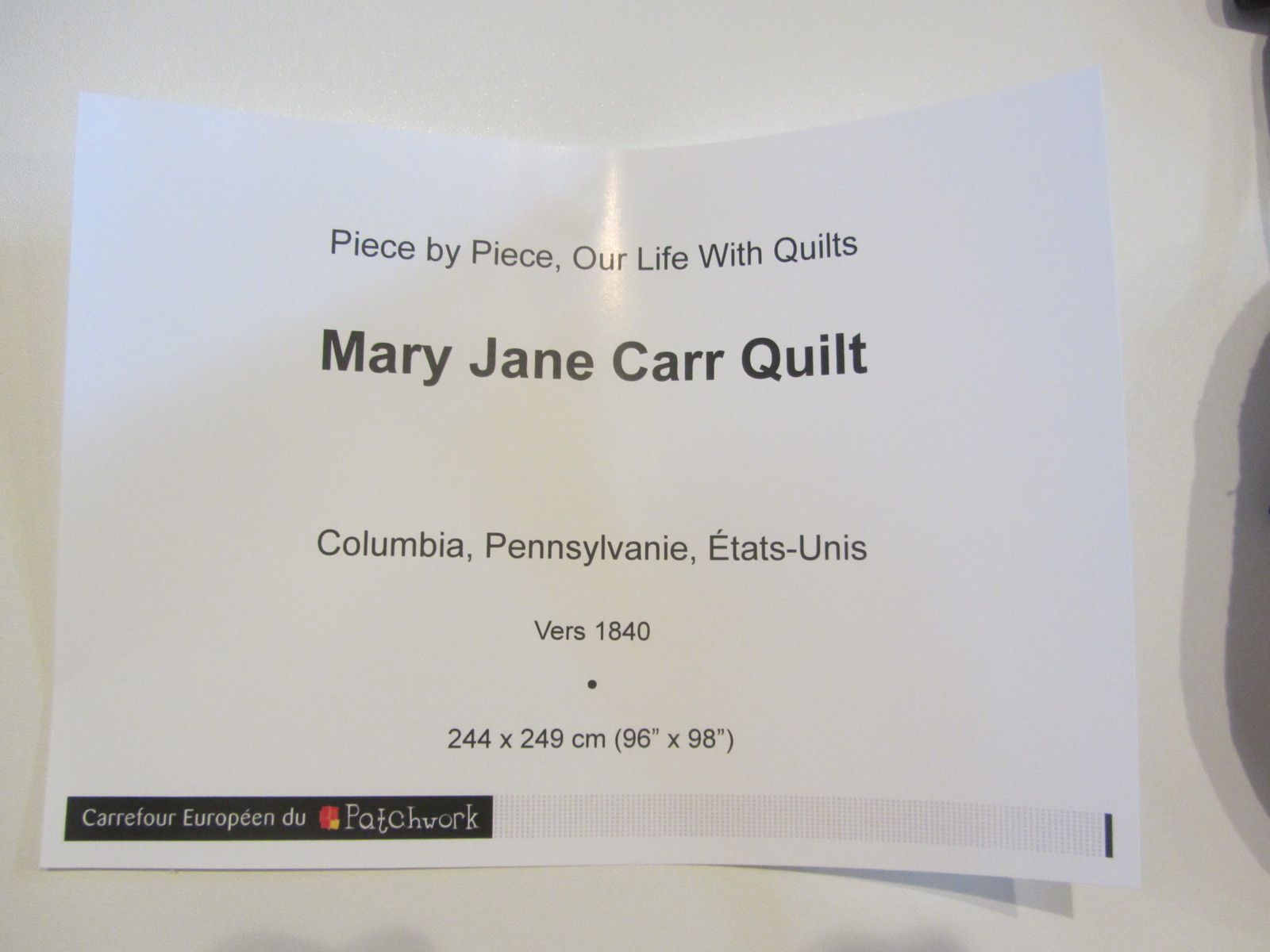 SMM : Piece by piece our life with quilts
