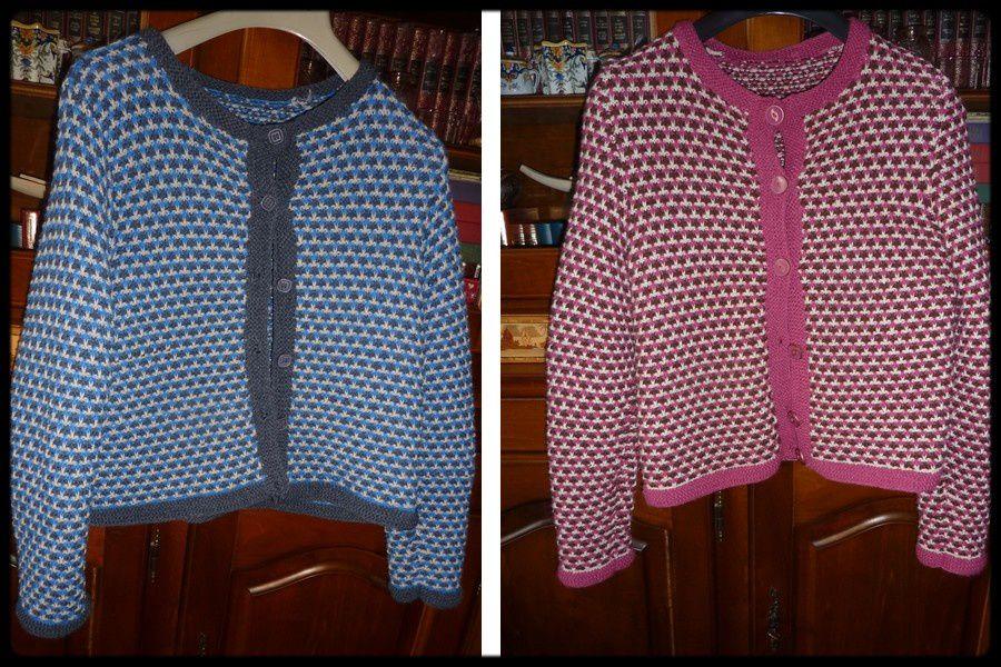 tricots : bleu, rose ,vert !