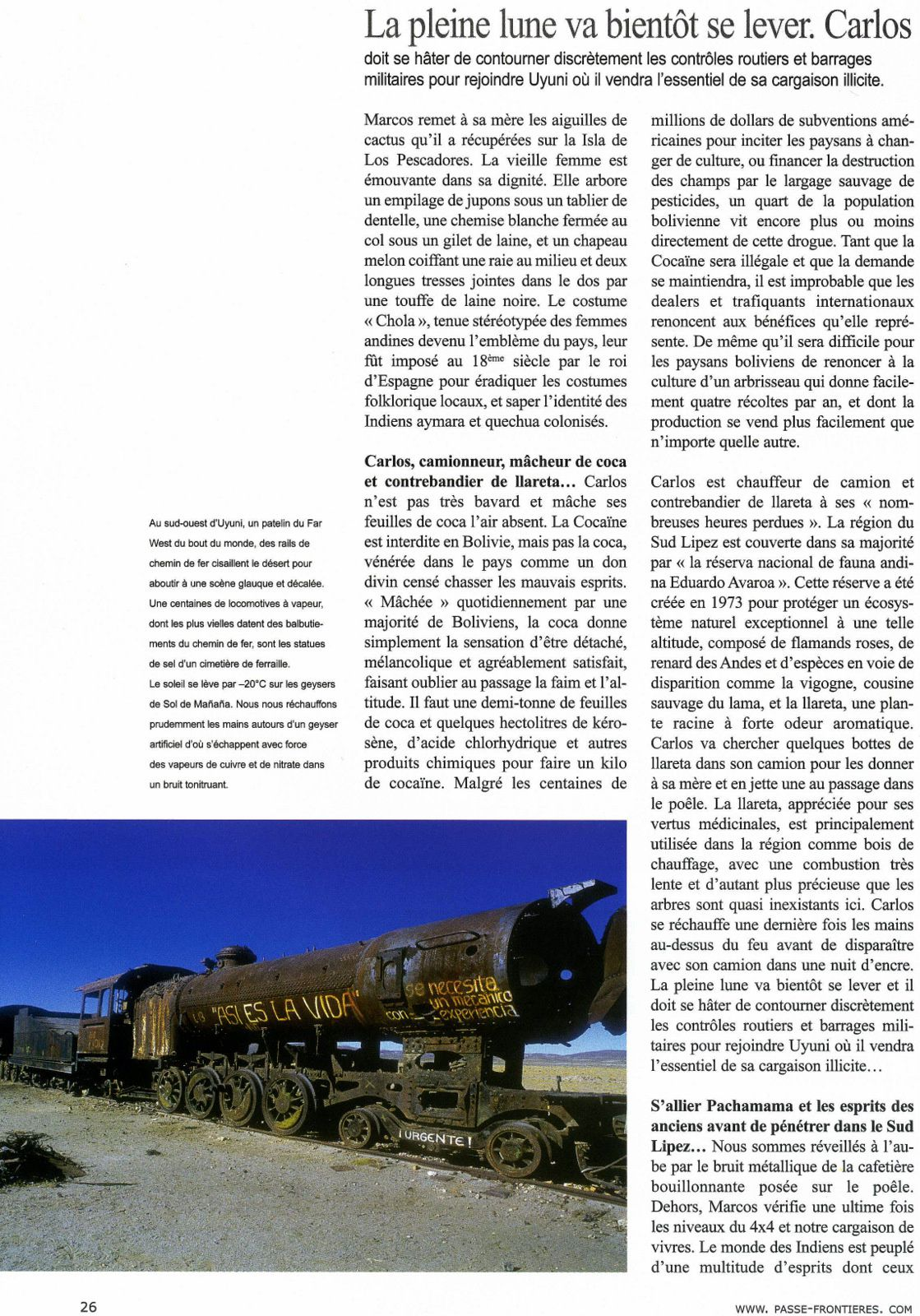"""2002 - Parution BOLIVIE dans """"PASSE FRONTIERES"""""""
