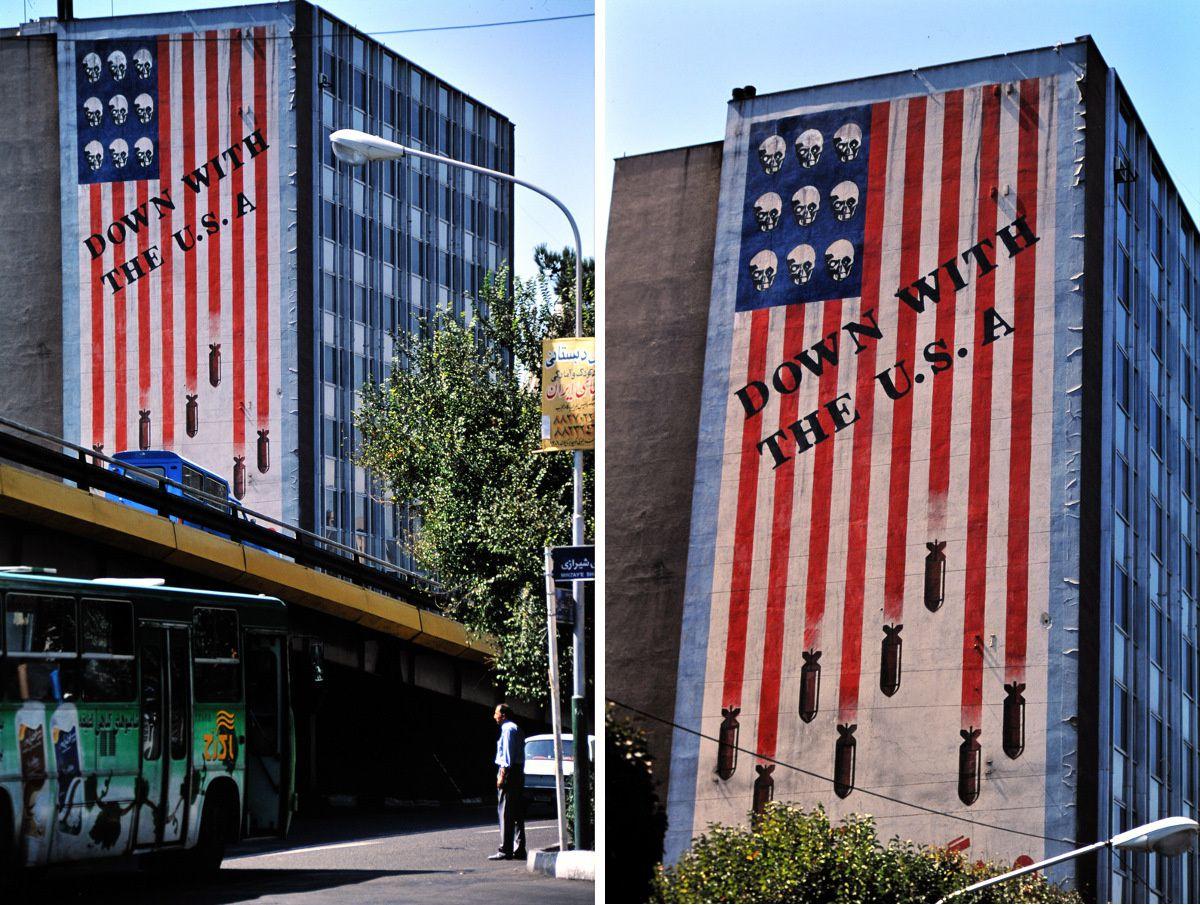 Fresque murale de Mehdi Qadyanloo Down with the USA dans le centre de Téhéran.
