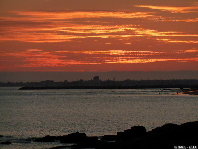 Le feu d'aritifce est tiré après le coucher du soleil
