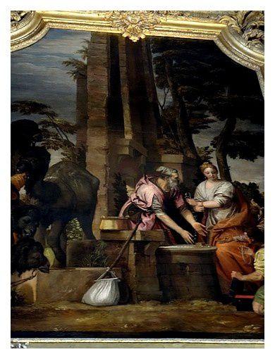 """""""Eliezer et Rébecca"""" Thème biblique de Paolo Cagliari (école de Véronèse) et Jacques Verbeckt  3.66 m x 2.4 m   approx. de 1550 à 1580"""