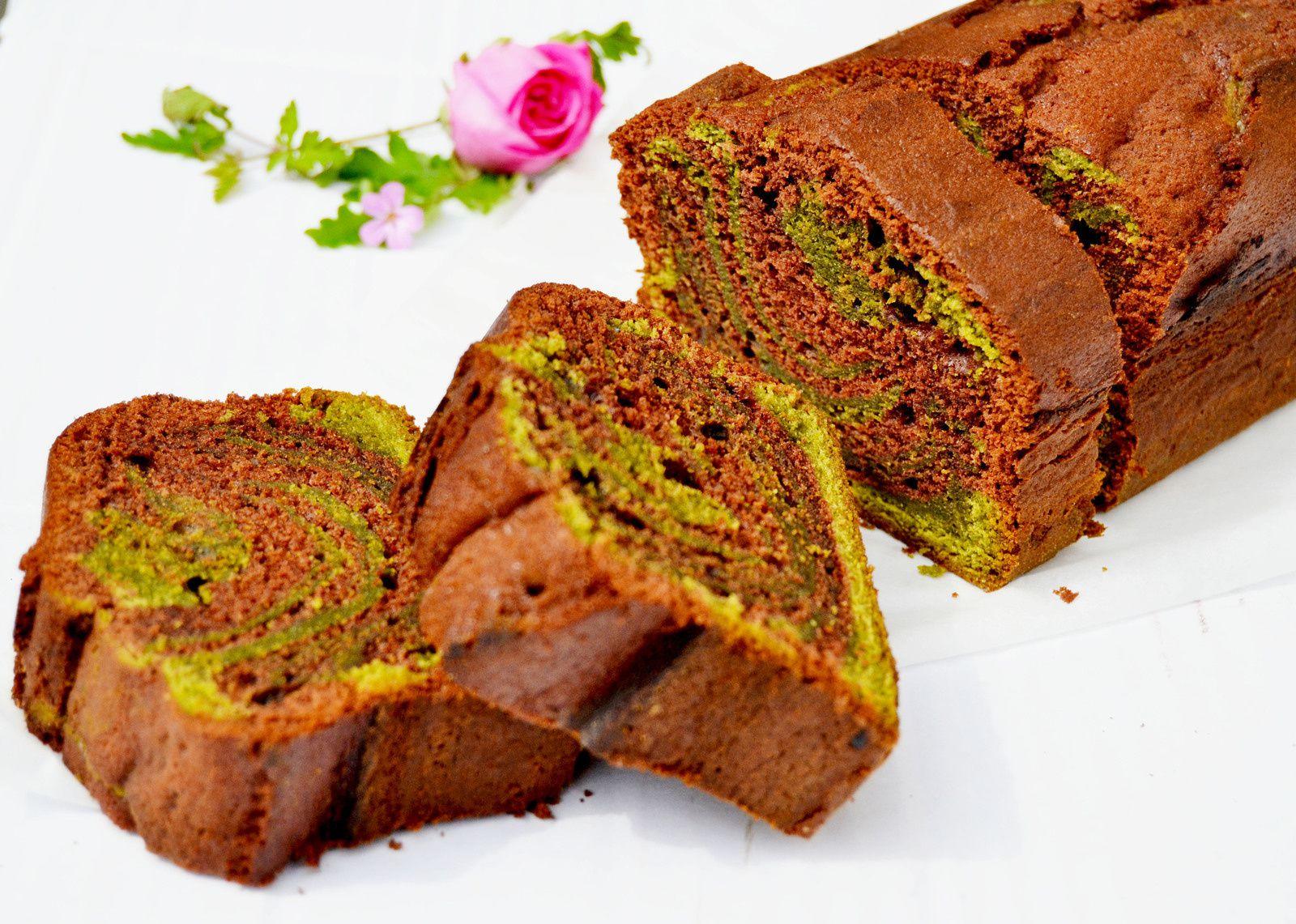 Cake marbré thé vert matcha/chocolat