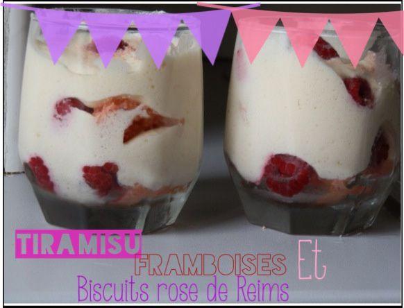 Tiramisu aux framboises et biscuits rose de Reims