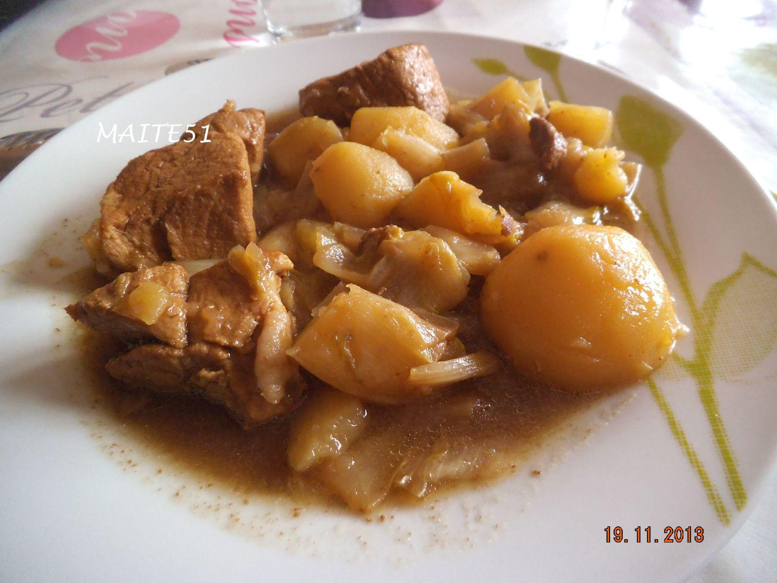Saut de porc des ch 39 tis a vos fourneaux chez maite51 - Cuisiner rouelle de porc en cocotte minute ...