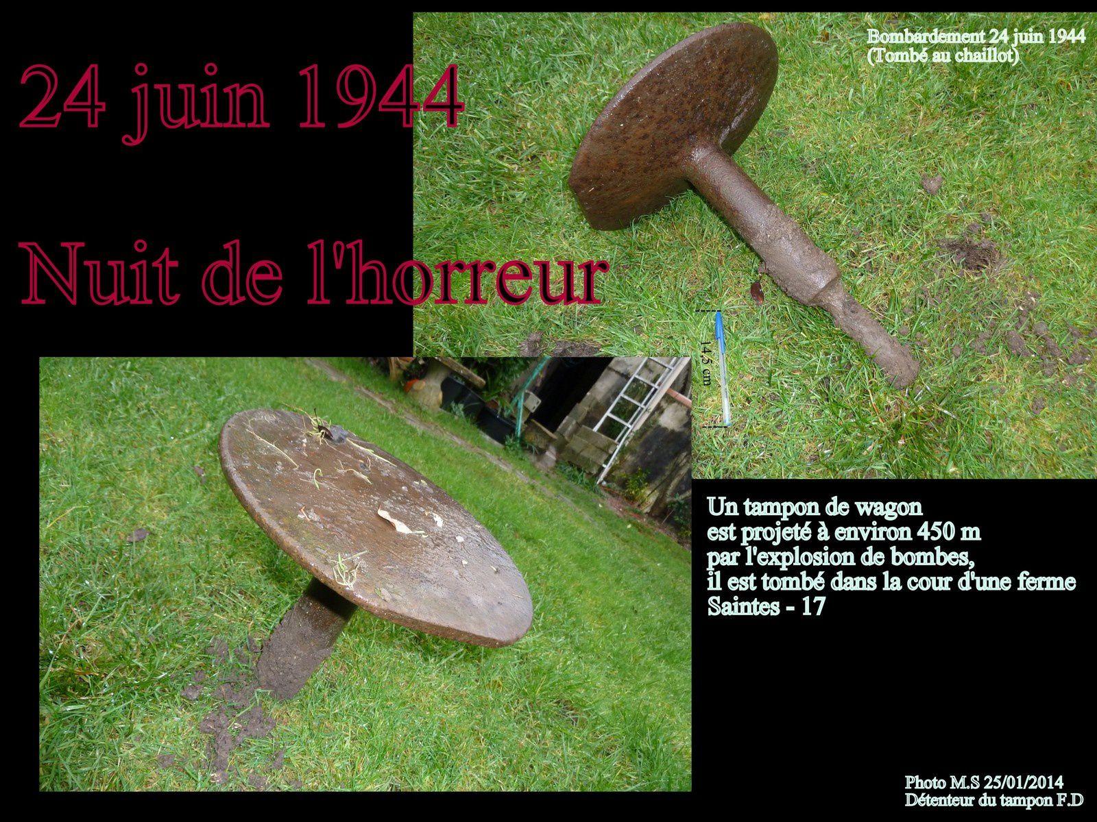 Le 24 juin 1944 environ 500 bombes sont tombées sur la gare de triage SNCF et sur différents points de la ville de Saintes (35 morts en 20 mn). Il reste en différents endroits des bombes non éclatées.