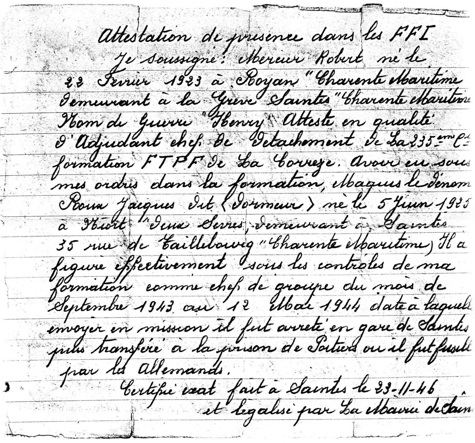 """Au cimetière St Vivien, Jacques repose dans le carré 5, sépulture 318, à l'ombre de notre drapeau tricolore. Sa mère, sa sœur, ont eu comme un fer rouge dans le cœur, comme l'avait déclaré Ginette Roux (épouse Millet) en 1997.... L'inspecteur de police P...... (condamné à perpétuité, mais il fera très peu de prison) aurait bien voulu le """" coincer sur le triage SNCF, mais ce ne fut que partie remise. jacques fut rattrapé par la police (S.A.P) et par les balles allemandes.... """" Mort pour la France.. sacrifice parallèle aux héros de Normandie """""""