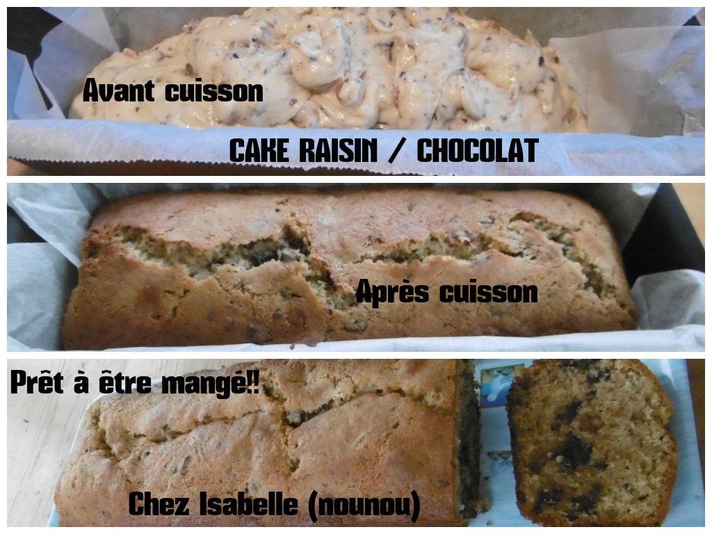 Cake au raisin et chocolat