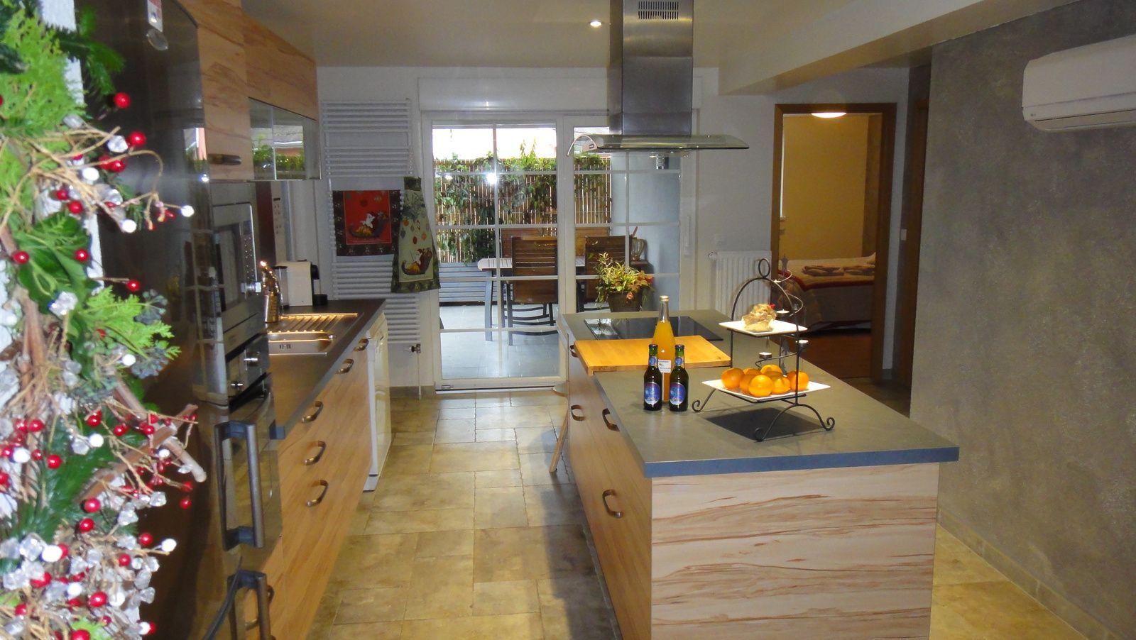espace cuisine avec accès direct sur la terrasse couverte
