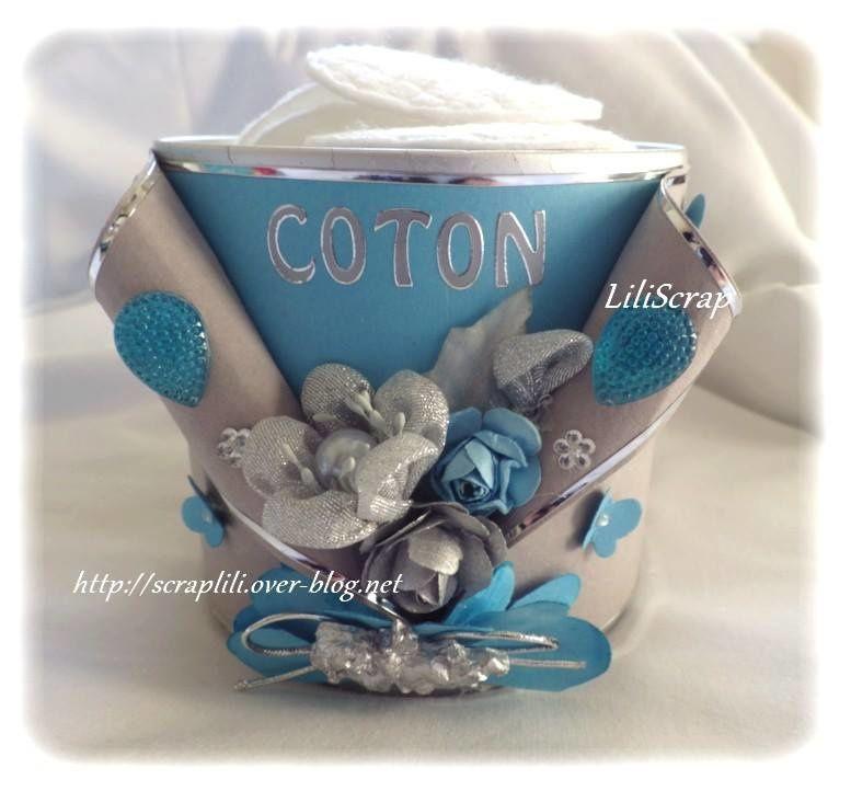 """Ensemble """"pots à coton et brosses (turquoise/gris)"""