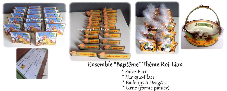 Ensemble baptême (faire-part/ballotin dragées/urne/marque place)