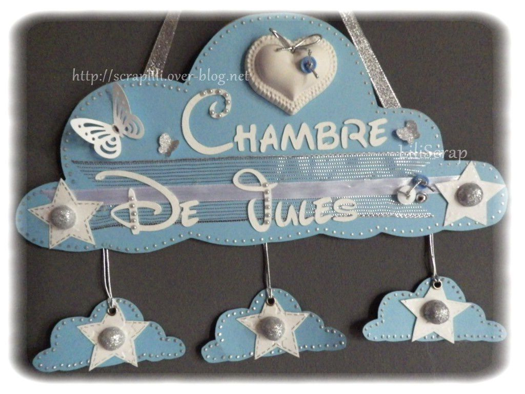D co pancarte de porte nuage b b gar on le blog de lili for Decoration de porte a suspendre