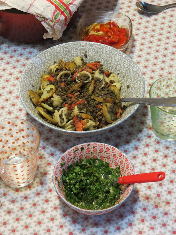 Salade de lentilles vertes (ou l'art d'apprêter les restes)