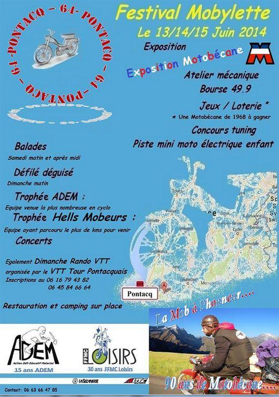 C'est le Second Festival de la Mobylette. Une rencontre à ne pas manquer.! une tobec de 68 à gagner à la loterie à 4€ le ticket , 10€ les 3 tickets , 20€ les 7 tickets ,