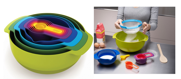 Nest Ustensils ; Nest 9 Plus ; Salad Bowl ; Y-Gindrer (poivre et sel) ; Elevate Gift Box Set ; 2-in-1 Measuring Jug. C'est joli, pratique et bien pensé (www.josephjoseph.com).