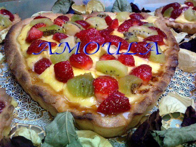 tarte aux fruits frais et crème patissière --- تارت الفواكه والكريم باستير