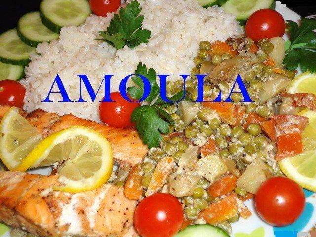 Papillote de saumon et fondue de légumes ----سمك السلمون بالخضروات والكريمة مغلف بالورق فى الفرن
