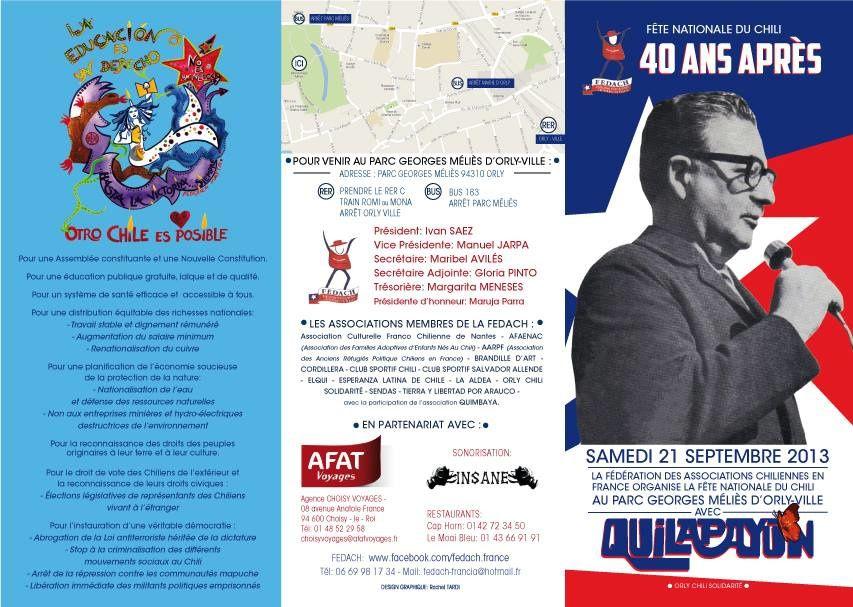 40 ans après, Orly, 21 septembre 2013, Fête du Chili. Fédération des Associations chiliennes en France