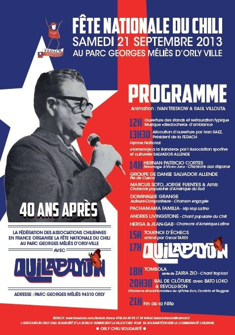 Fête nationale du Chili en France ce 21 septembre à Orly.
