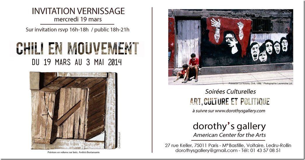 """Exposition """"Chili en mouvement"""" (Paris 11) du 19 mars au 3 mai."""