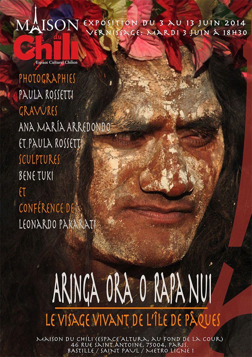 """Exposition et conférence Île de Pâques - """"RAPA NUI"""" du 3 juin au 13 juin 2014 à la Maison du Chili (46 rue ST Antoine Paris 4)"""