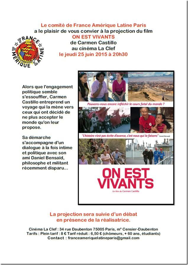 25 Juin - Projection du film On est vivants de Carmen Castillo
