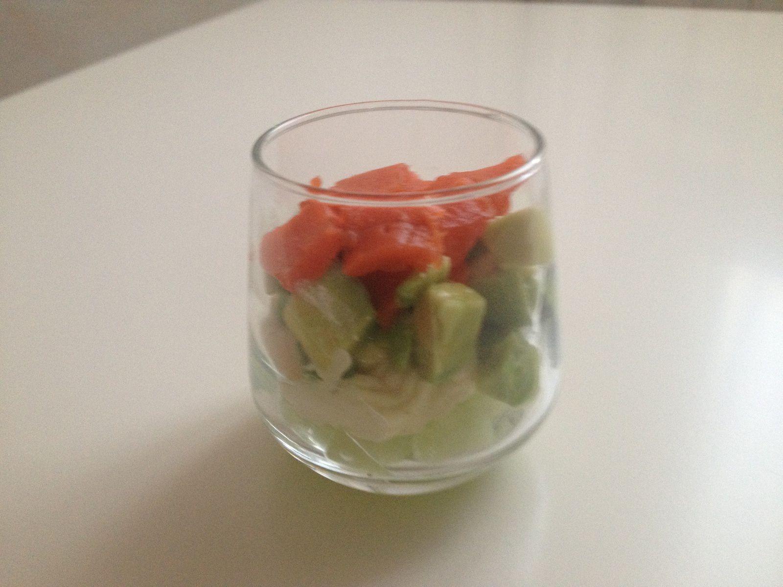Verrines Saumon Avocat et Concombre