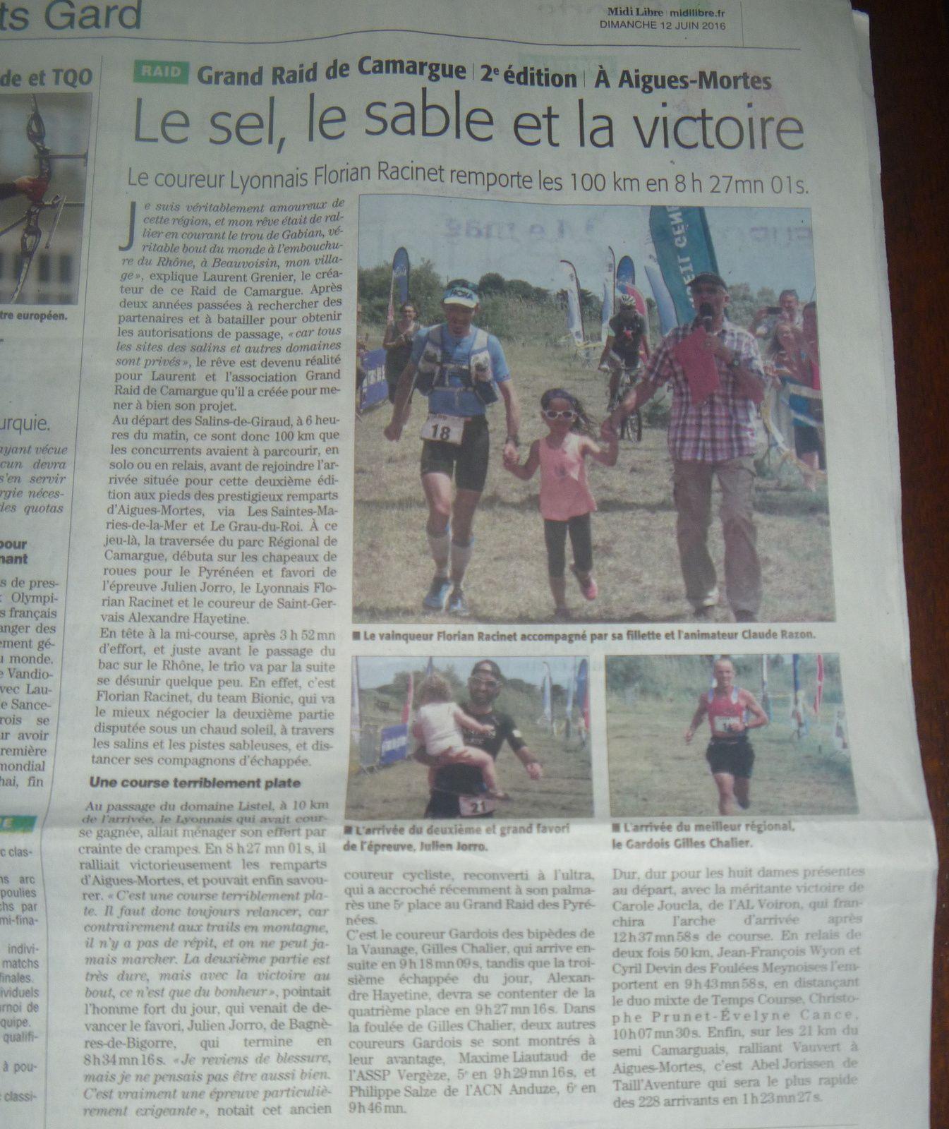 Un grand article sur le Midi Libre de dimanche.