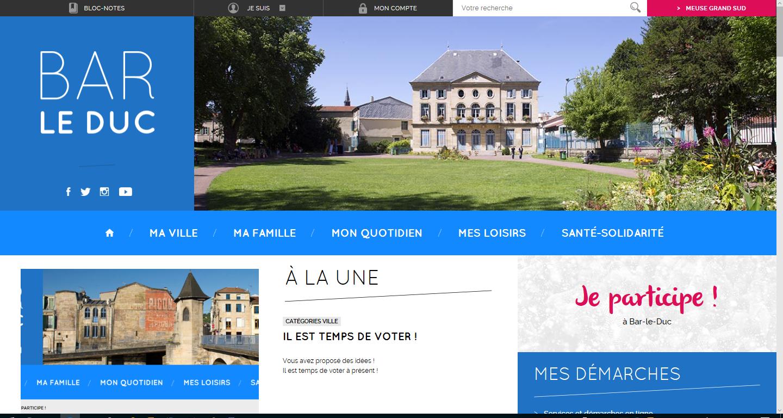 L'écran d'accueil du site internet