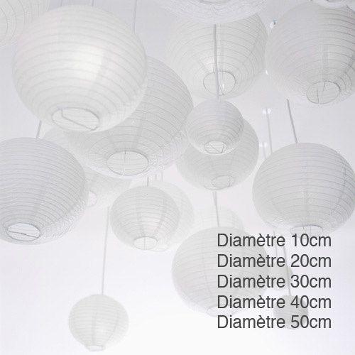 Lanternes chinoises blanches (prix sur le site internet www.zeste-creatif.com)