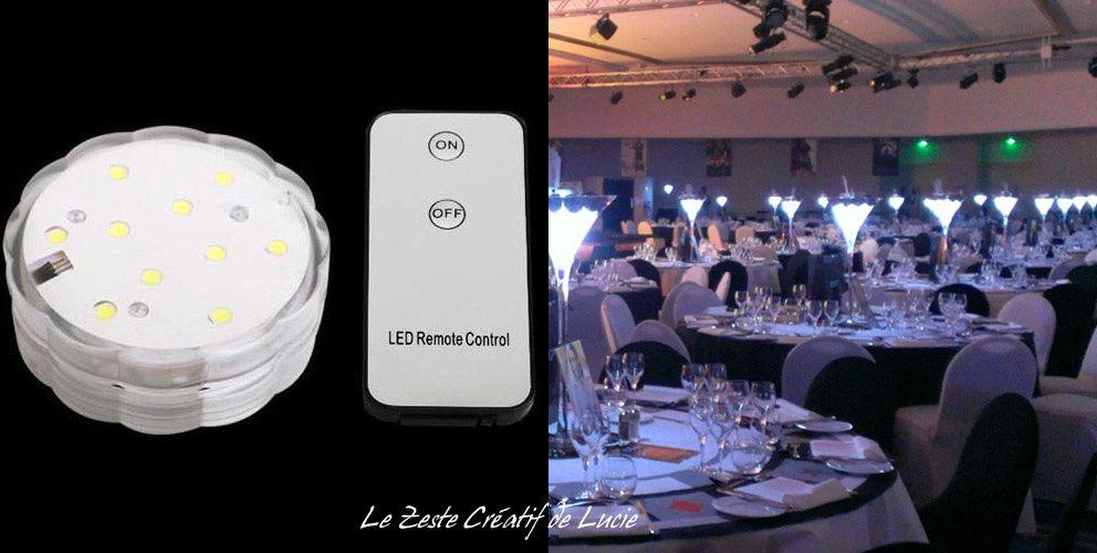 Base led submersible Blanche + télécommande (prix sur le site internet www.zeste-creatif.com)