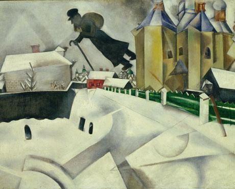 """Chagall, au-dessus de Vitebsk, Amour et La promenade de Chagall, le musée Chagall à Vitebsk et La Ville détruite de Ossip Zadkine, chateau de la Trémouille, Jeanne au bûcher à Rouen, portrait d""""Antonin Artaud, Marilyn-JFK-Robert K."""