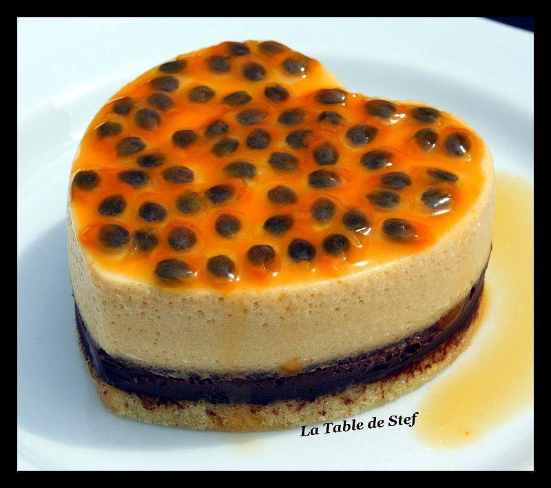 Entremet Chocolat/Fruit de la passion sur pain de Gêne
